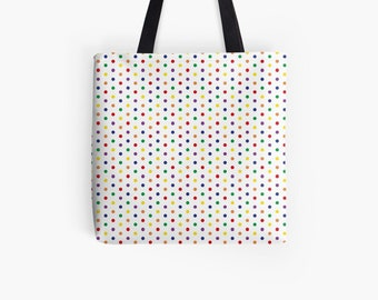 Customizable Fabric Bag Shopper Shoulder Bag Colorful Dots Polka Coloureddots   hatgirlBAGS Rainbow Collection Gift Mother's Day