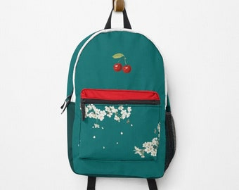 Personalized backpack matching your favorite outfit Cherry Petrol   PERSONAL DESIGN BAG School Start Gift