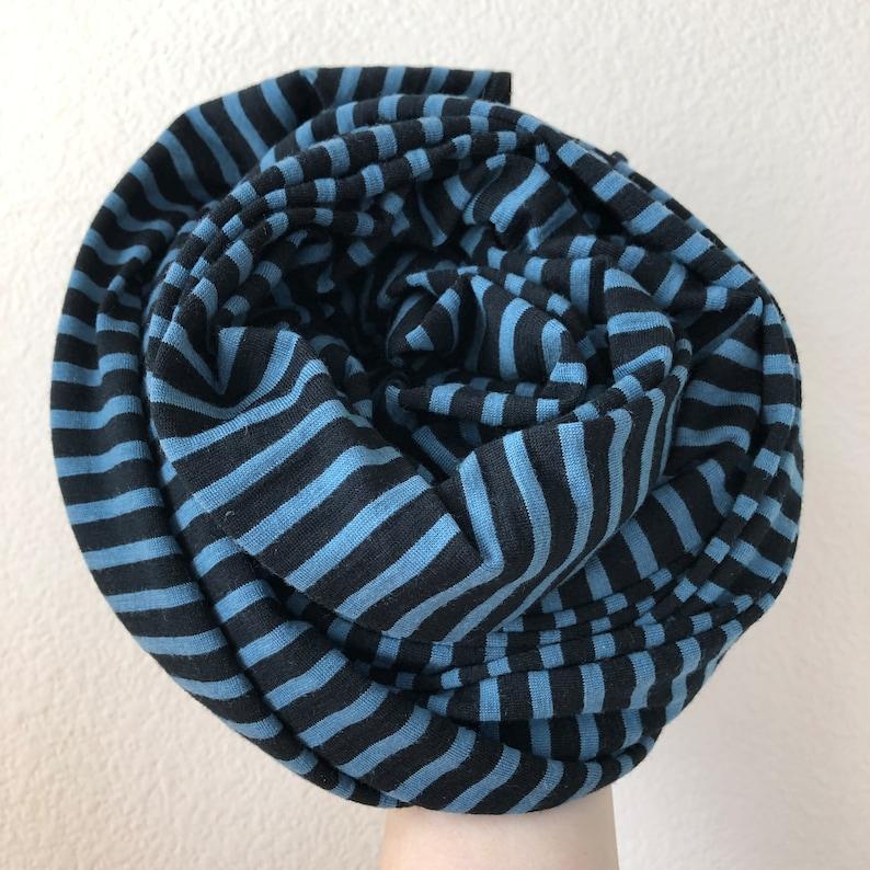 Merino Wool Scarf Stripe Gift Men Women Unisex Outdoor Winter Neck Warmer Black Blue