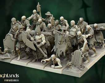 Zombie Horde (Villagers & Warriors) by Highlands Miniatures. Resin 3D print in scales 28mm and 32mm.