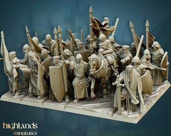 Holy Crusaders (Templars) by Highlands Miniatures. Resin 3D print in scales 28mm and 32mm.