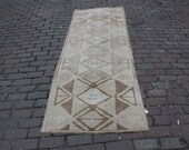 3x8 feet beige brown geometric patterned Turkish Anatolian handmade faded gorgeous runner rug for entry,living room,kitchen gift for her