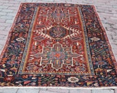4x6 feet bordered red geometric patterned handmade vintage medium small size hooking anatolian kitchen Living Room Entry Rug Gift for her