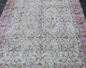 5 39 2x8 39 5 feet beige pink natural faded vintage Turkish area Traditional handknotted rug for living and kitchen valentines gift