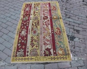 3x5 feet yellow red floral small bordered vintage handmade Turkish hooking antique entry bathroom bedroom rug gift for valentines day