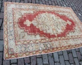 4 39 3x6 39 5 beige red oriental design small size Turkish Anatolian bordered geometric gorgeous rug for living kitchen and entry gift for her