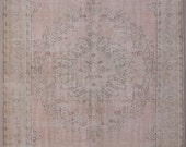 6x10 feet beige creamy pink faded oriental Anatolian Oushak large size handwoven cotton wool rug carpet hooking decorative gift for her