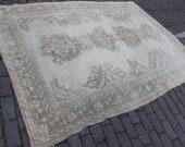 6x8 Turkish Traditional Rug , Handmade Wool Rug , Area Beige Rug , Earth Tones , Farmhouse Decor , Boho Decor , Vintage Area Rug ,