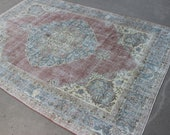 7x10 feet blue red lovely faded Antique Vintage handmade patterned faded Turkish Traditional Area rug for sale