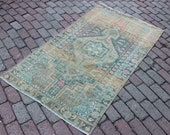 3 39 2x5 39 6 faded brown blue pink medallion patterned Antique Distressed Accent Rug for Entry
