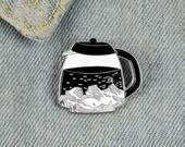 Starry Night Coffee Pot Enamel Pin Mountain Moon Stars Brooch Denim Jacket Lapel Perfect Gift For Caffeine Addicted Friend