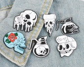 Gothic Skeleton Enamel Pins Lapels Brooches Badges Rose Coffee Pot Pizza Cool Jewellery Gift