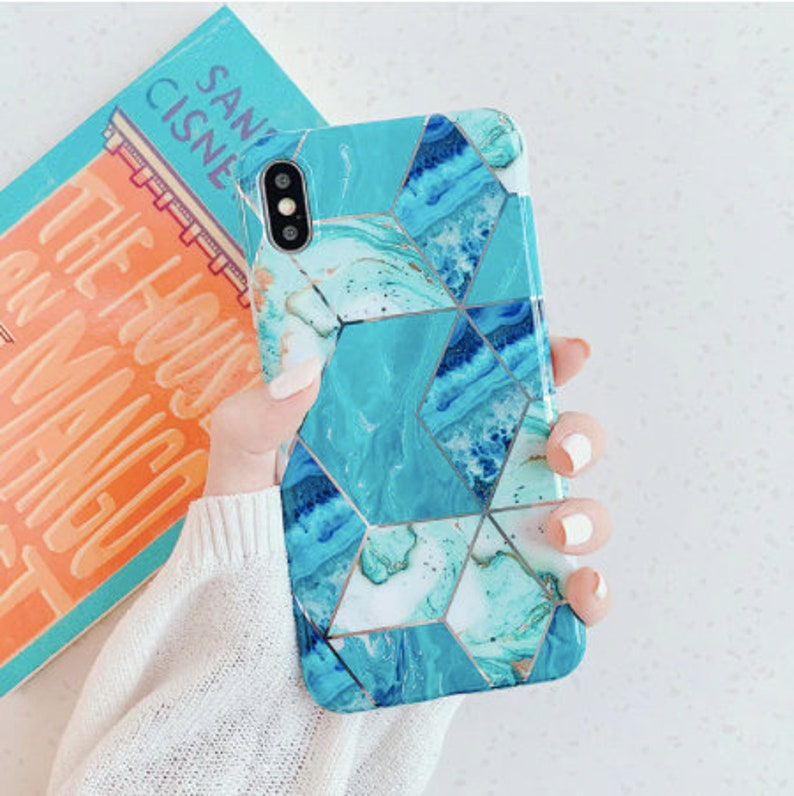 Geometric Blue Green Silver Marble iPhone 12 Pro Max Case
