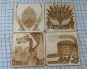 Monster Hunter Icons - Birch Wood - Available as fridge magnets, coasters, coins and more - Custom laser engraved cut - (pick any monster )