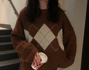 Argyle Sweater - Fall Sweaters / Oversized Sweater / Preppy Sweatshirt / Long Sleeve Shirt / Preppy Clothes