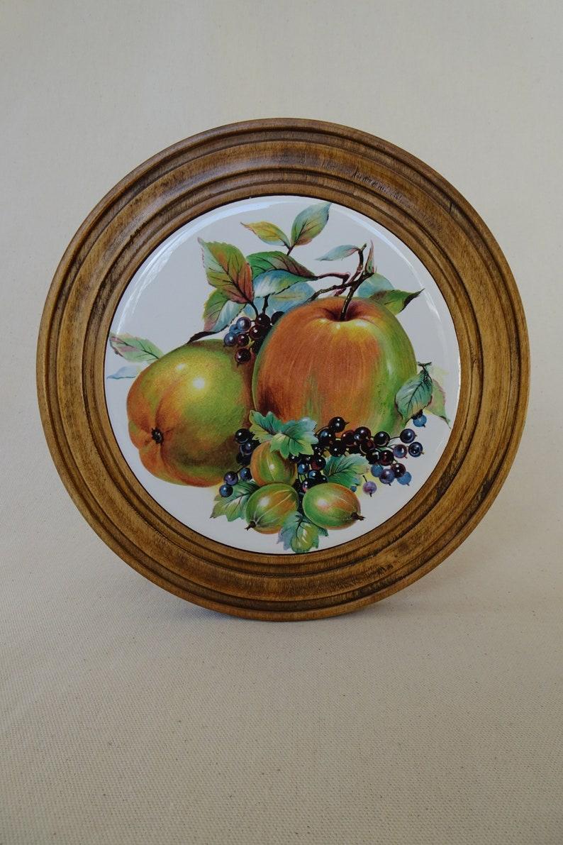 Still Life Fruit Scene Hand Turned Wooden Tile Plaque