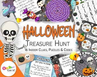 Halloween Treasure Hunt, a printable indoor family scavenger hunt, fun kids, escape room puzzles,for a Spooky Party, or Halloween Activity