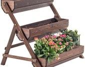XINGLIAN-Flower Herbs Holder 3 Tier Wood Flower Rack Shelf Plant Ladder Stepped Display Stand Balcony Outdoot door