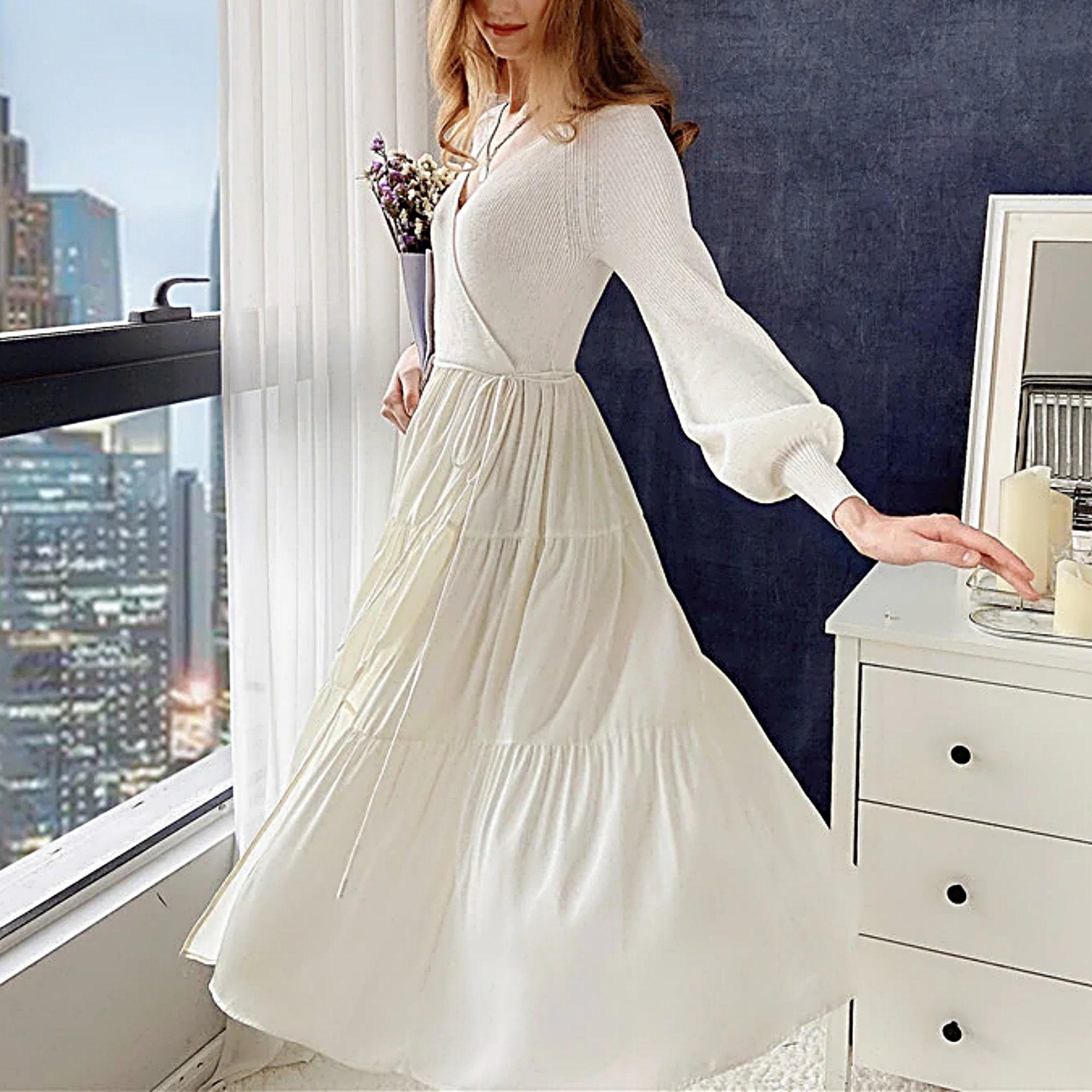 Pullover Kleid Party Süß Sexy Strickkleid Frühling Herbst