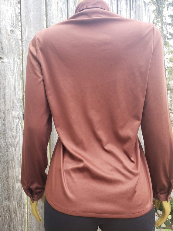 Vintage 70s Brown Ruffle Blouse - image 2
