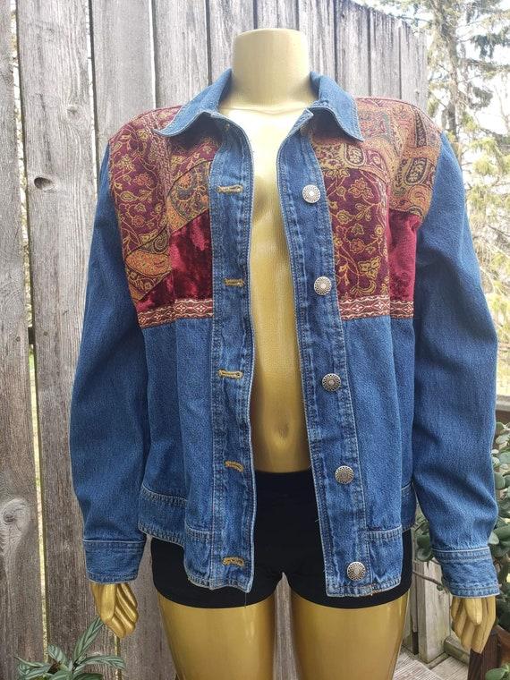 Vintage 90s Velvet Paisley Jean Jacket