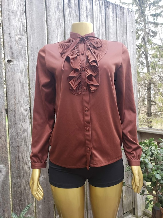 Vintage 70s Brown Ruffle Blouse - image 1