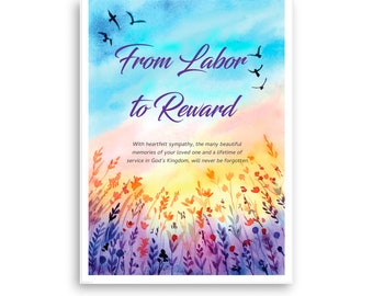 Printable Christian, From Labor to Reward, Sympathy, Digital Downloadable, Scripture, Includes Free Envelope Template, Instant PDF Download