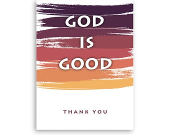 Printable Christian, God is Good, Digital Downloadable Thank You Card, Includes Free Envelope Template, Instant PDF Download, Size 5x7