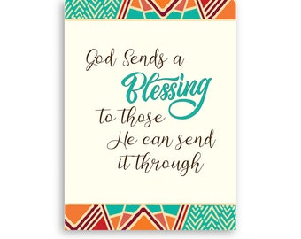 Printable Christian, God Sends a Blessing Through, Digital Downloadable Thank You, Includes Free Envelope Template, Instant PDF Download