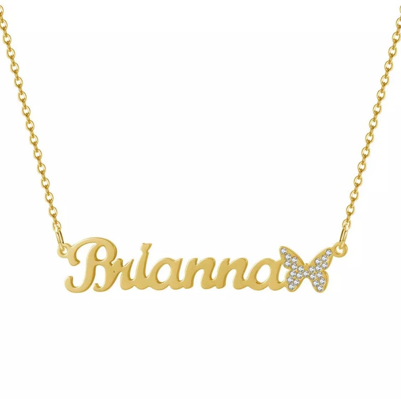 Name necklace with Iced out butterfly
