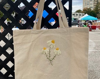 Daisy Bouquet Embroidered Canvas Tote Bag