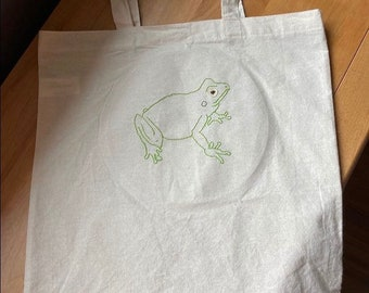 Embroidered Frog Canvas Tote Bag