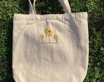 Minimalist Sunflower Embroidered Canvas Tote Bag
