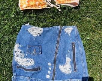 Vintage Funky Jean Skirt