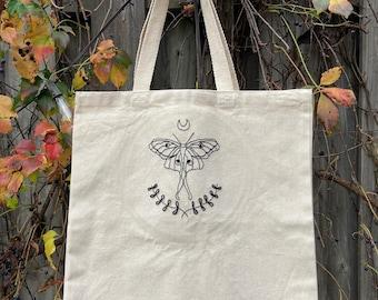 Luna Moth Embroidered Canvas Tote Bag