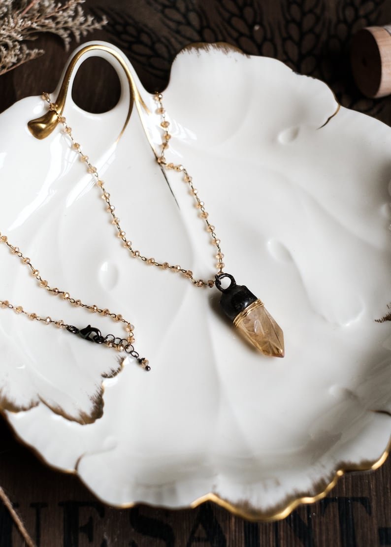Soldered Translucent Luster Crystal Quartz Pendant Necklace