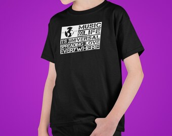 """Youth """"Music is life"""" Short Sleeve Tee"""