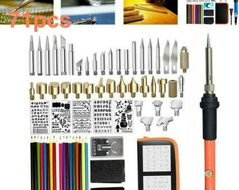 53Pieces Wood Burning Tip,Wood Pyrography Tool Wood Burning Tips Set Stencils Nozzle Kit for Hobby Craft