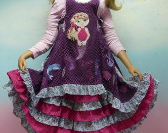 2Parts Dress Size 86-140 Mermaid Dolphin Shell Seahorse Purple Pink Blue Ruffle Dress Retrain Unique Handmade Fairy DressDesign