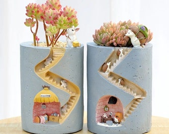 Ornament Plant Pots, Animal Succulent Planter, Hedgehog Ceramic Pot, Cactus Rabbit Planter Pot, Tiny Town Plant Holder, Kawaii Bunny Vase