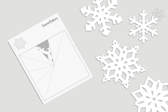 4 Snowflakes Fold and Cut Template Blank Snowflake Template