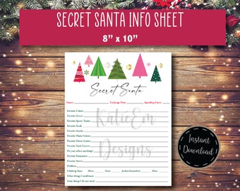 Secret Santa List - Digital Download - Christmas Games - Holiday Gifts