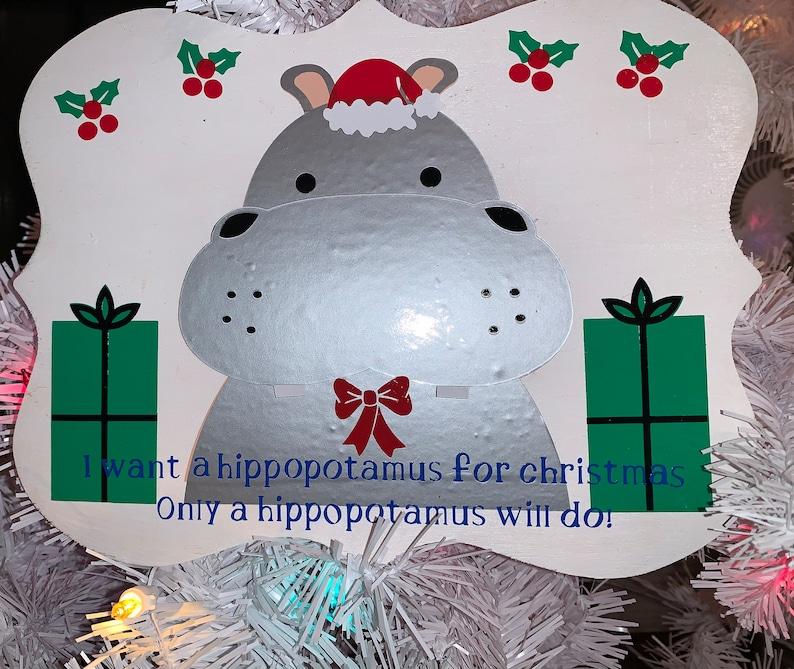 Wooden Hippopotamus for Christmas Sign