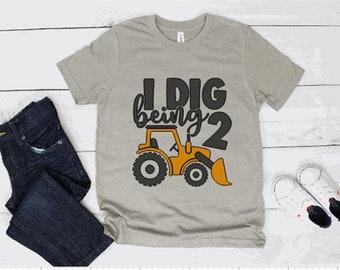 I dig being 2 Shirt Building Construction Shirt 2nd Birthday Shirt Crane Shirt Boy Birthday Shirt Kids Crane Shirt Unisex Graphic Tee