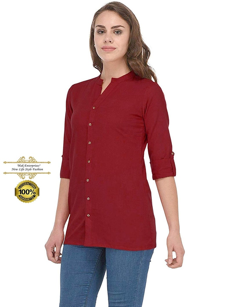 kurti For Girls. Indian Traditional Designer Cotton Top Tunic Women Solid Maroon Ethnic Party Wear Short Shirt