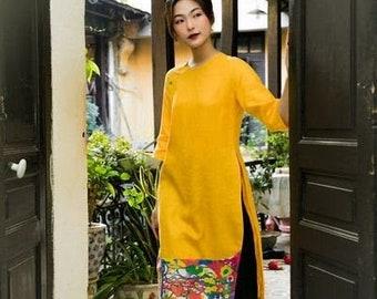 Vietnamese Ao Dai, Linen Ao Dai, Linen Fashion, Ao Dai Vietnamese, Vietnamese Traditional Dress for Women