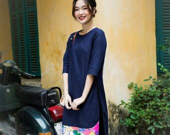 Vietnamese Ao Dai, Linen Ao Dai, Linen Fashion, Ao Dai Vietnamese, Vietnamese Traditional Dress for Women| Navy Ao Dai