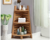 Corner shelf, Ladder Corner Shelf, Display Bookcase, 3-tiere plant stand, Sturdy Book Shelves for Living Room, Bed Room and Office