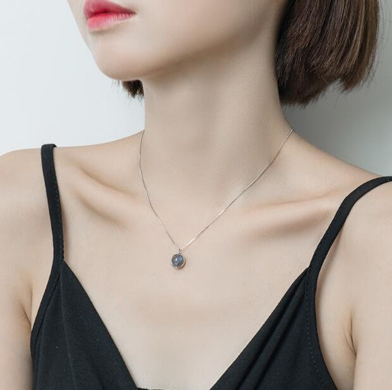 Dainty Moonstone Necklace \u2022 Valentine/'s Day Gift for Her \u2022 Sterling Silver Necklace \u2022 Dainty Jewelry \u2022 Unique Necklace \u2022 Handmade Jewelry