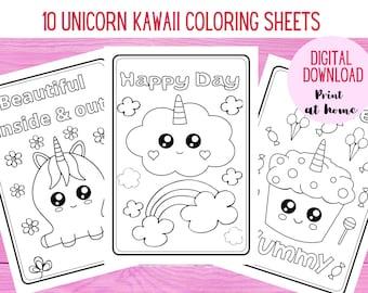 Kawaii Coloring Page Etsy